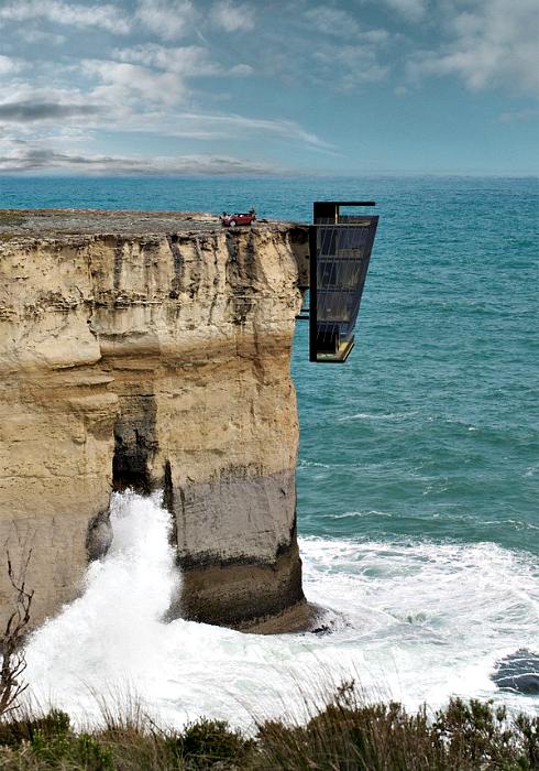 Современный дом на отвесной скале.