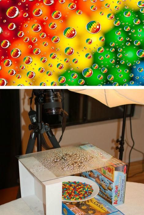 Известные конфетки в капельках воды.