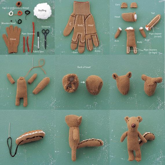 Игрушка бурундук, сделанная из старой перчатки, ваты и фурнитуры.
