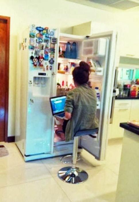 Рабочее место в холодильнике.