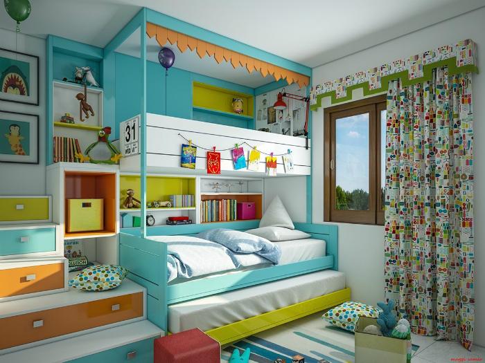 Жизнерадостная спальня с обилием ярких деталей.
