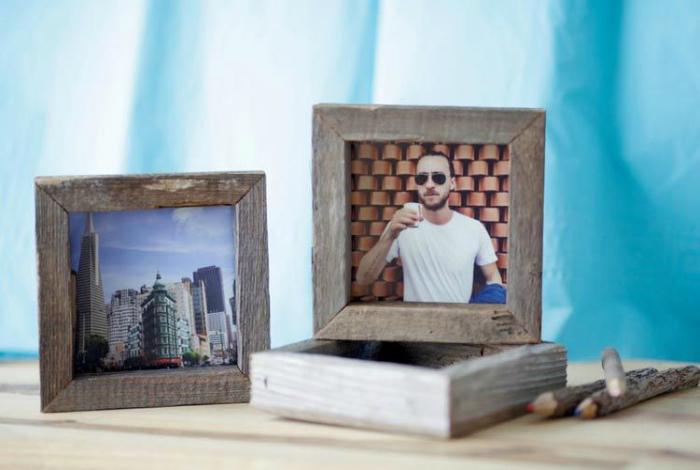 Стильная деревянная рамка для квадратных снимков из Instagram.