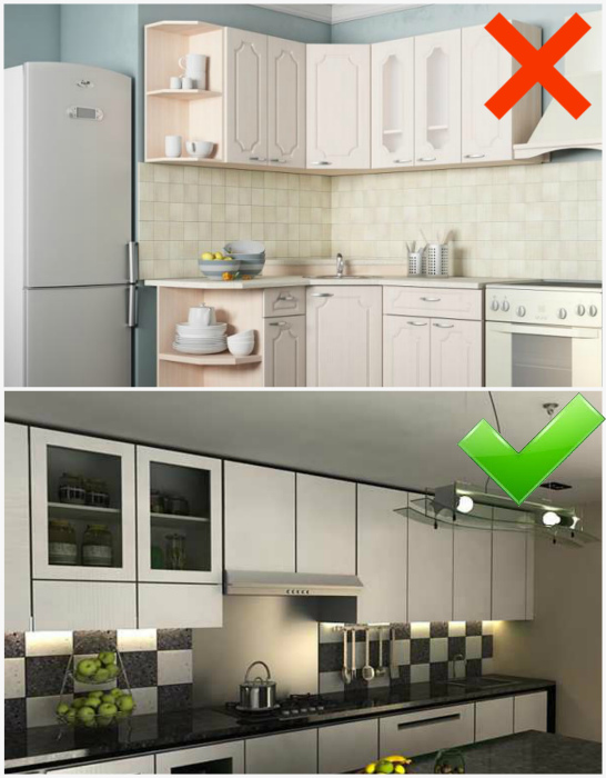 Кухонный гарнитур с зазором под потолком. | Фото: Фотодоска, MyDesigning.