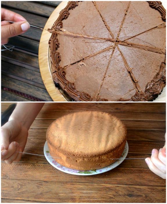 Разрезать торт на куски.
