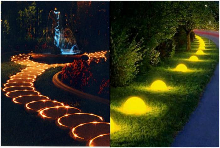 Необычное освещение. | Фото: Ландшафтный дизайн, Яндекс.