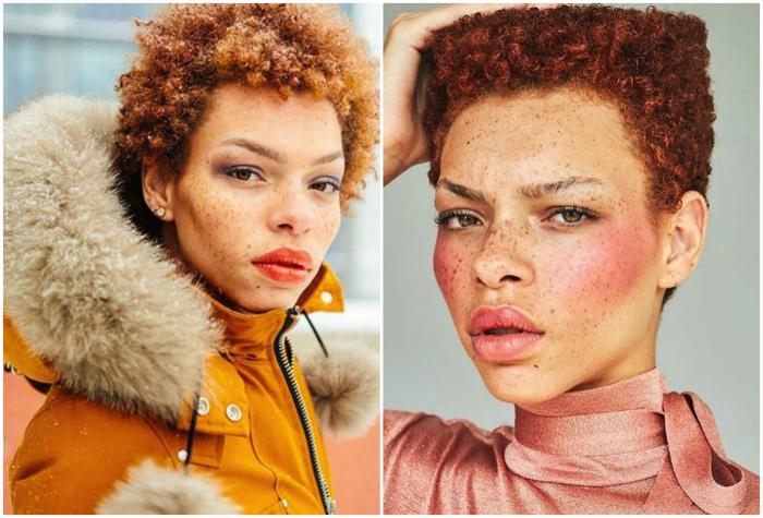 Модель с веснушками и ярко-рыжими волосами.
