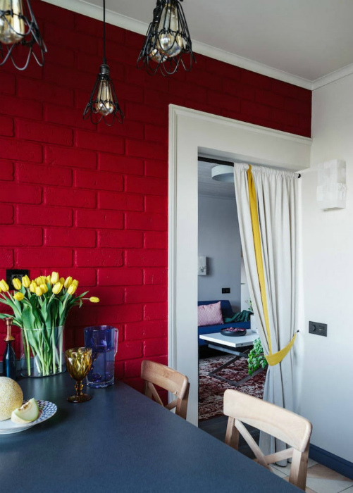 Штора вместо двери в кухню. | Фото: Design-homes.ru.