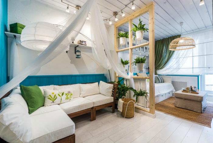 Однокомнатная квартира в тропическом стиле.