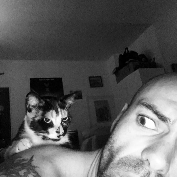 Котик за спиной. | Фото: AdMe.