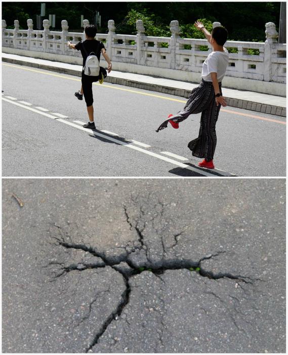 Наступить на трещину в асфальте. | Фото: Пикабу, bashny.net.