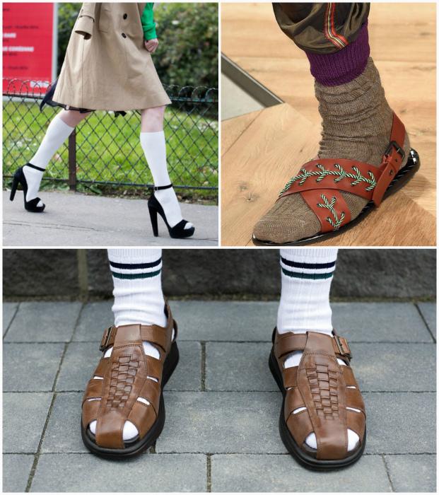 Сочетание носков с сандалиями.
