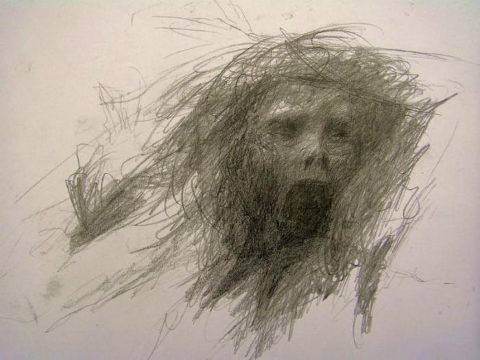 Рисунок человека, страдающего шизофренией.
