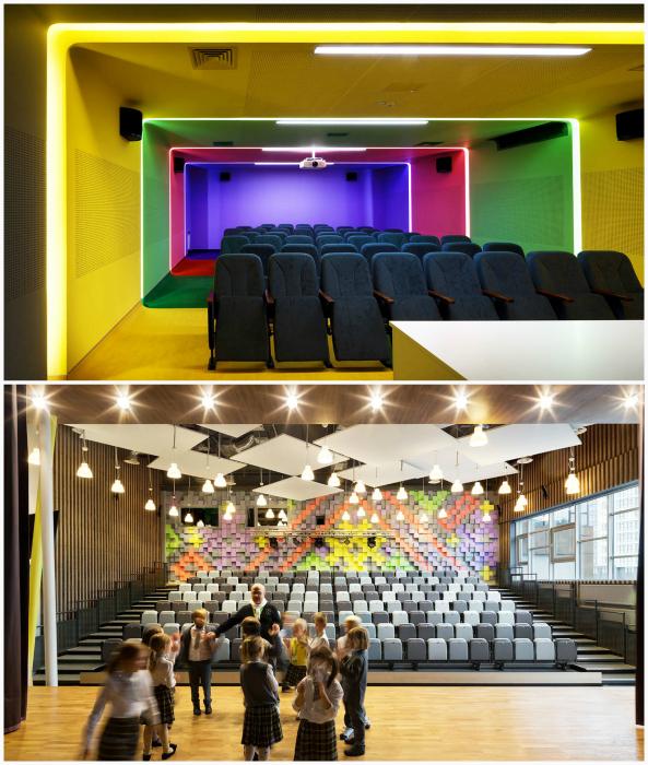 Яркий дизайн лекционных кабинетов.