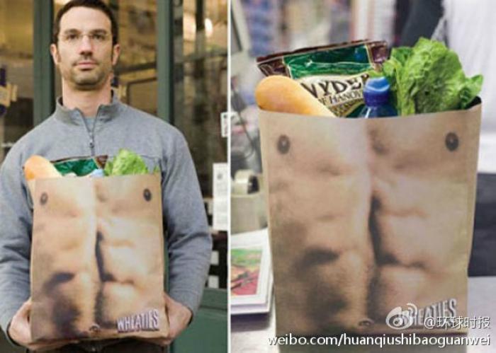 Паперовий пакет із зображенням чоловічого торсу від агентства Saatchi & Saatchi New York.