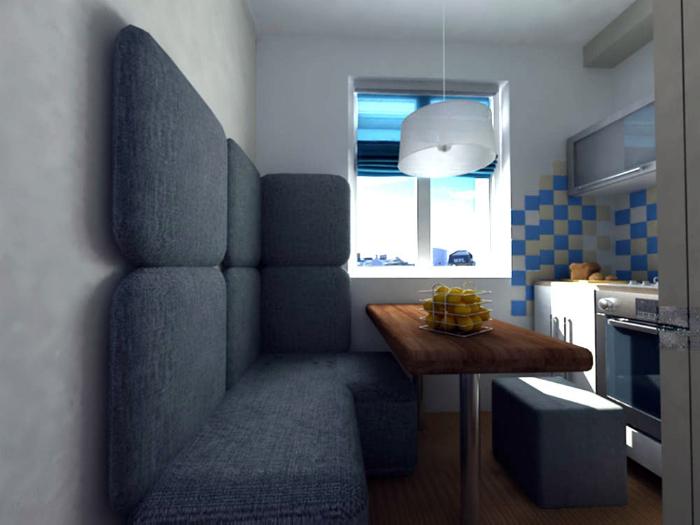 Небольшая кухня с удобным диванчиком.