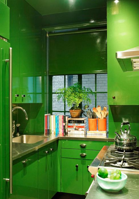 Маленькая кухня, оформленная в зеленом цвете.