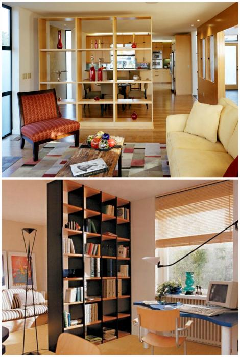 Высокие стеллажи в интерьере небольшой квартиры.