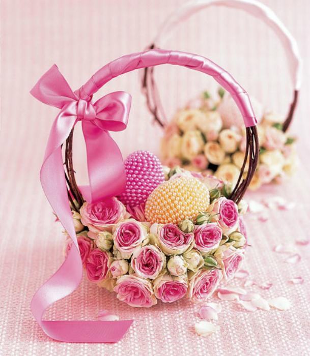 Весенний декор пасхальной корзинки.