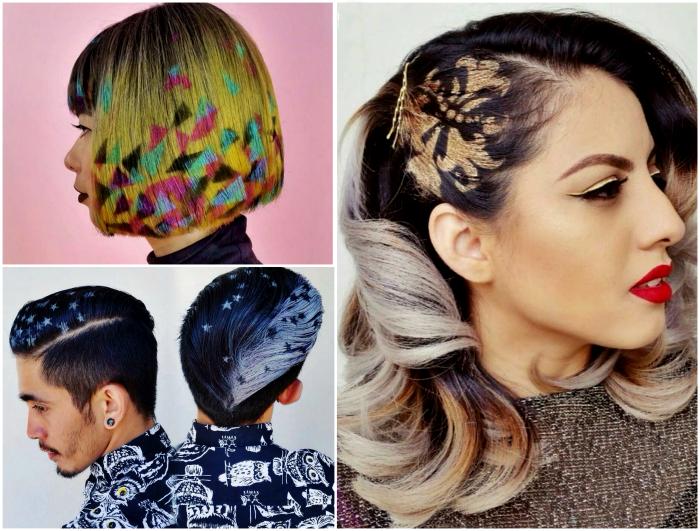Яркие граффити на волосах.