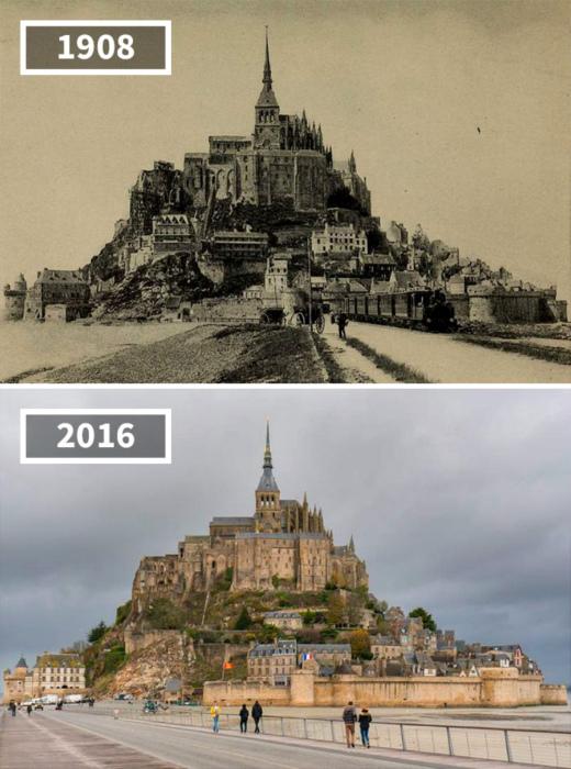 Остров Мон-Сен-Мишель во Франции, 1908 - 2016.