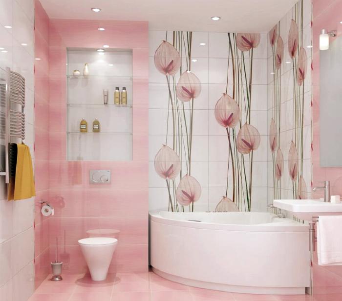 Ванная комната в бело-розовых тонах.