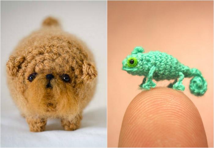 Миниатюрные вязаные фигурки собачки и хамелеона.