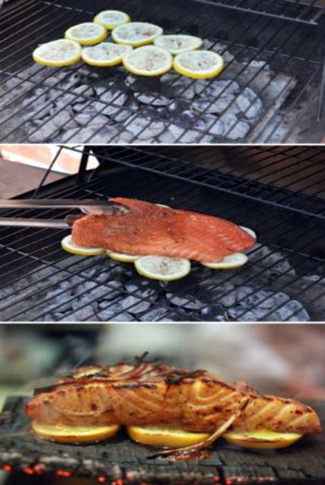 Рыбные стейки на гриле.