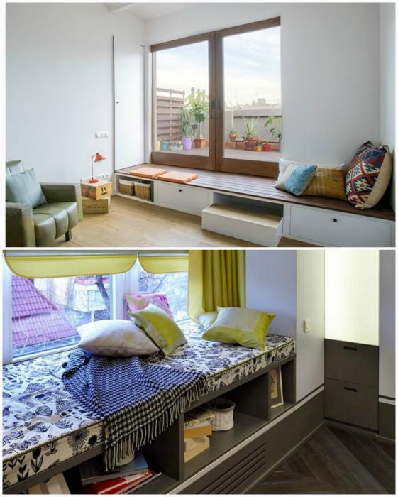 Скамейка у окна. | Фото: BR-Interiors.