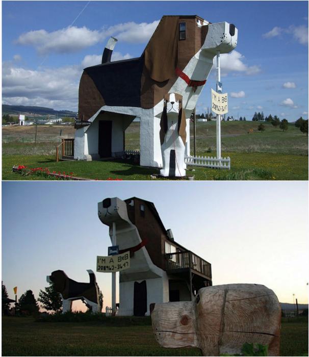 Отель в виде собаке в городе Коттонвуд.