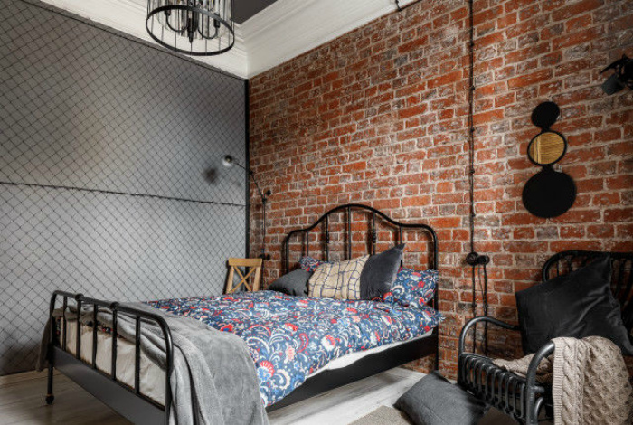 Рабица в спальне. | Фото: Richard Brown Architect.