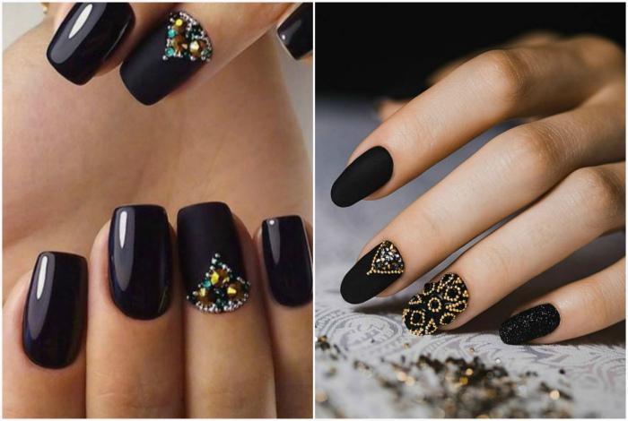 Черные ногти, украшенные бульонками и стразами.