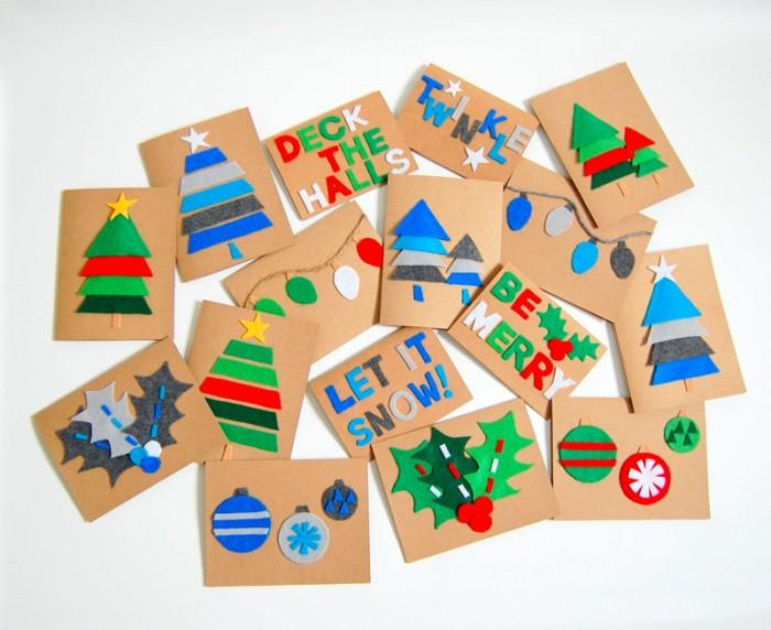 Яркие новогодние открытки из кусочков цветного фетра.
