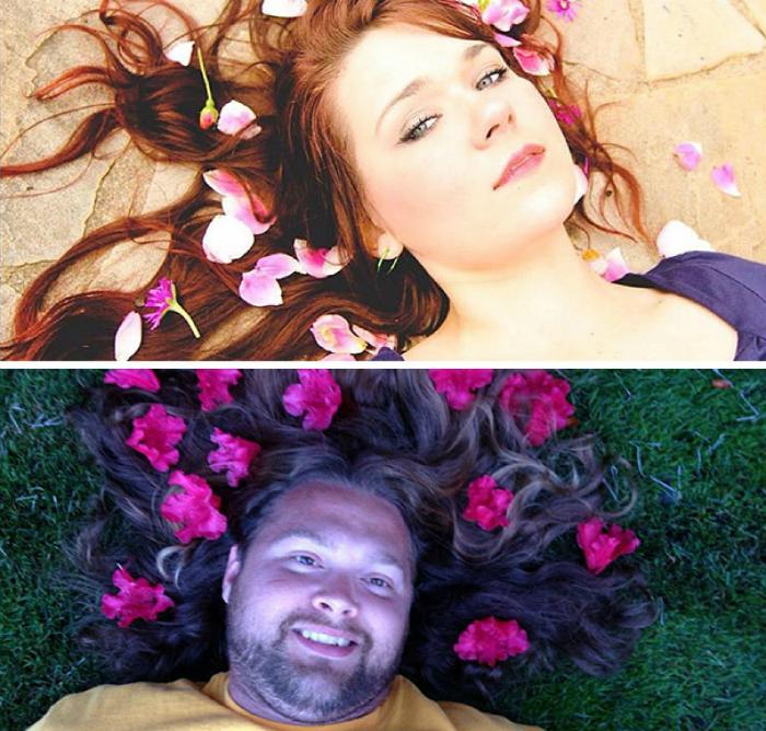 Цветы в волосах.
