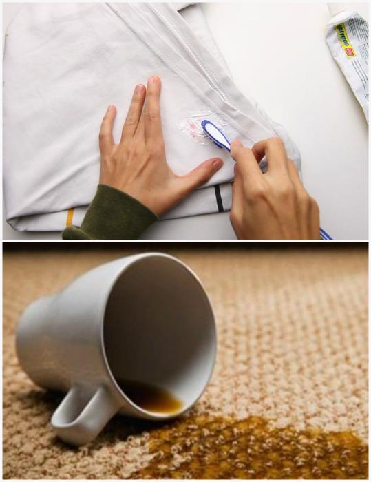 Зубная паста для удаления пятен с ковров и одежды.