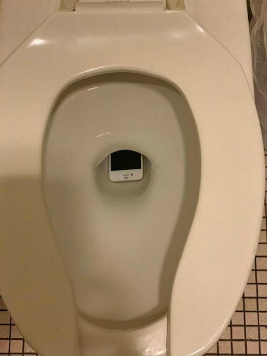 Классическая айфоново-туалетная неудача. | Фото: humor.fm.