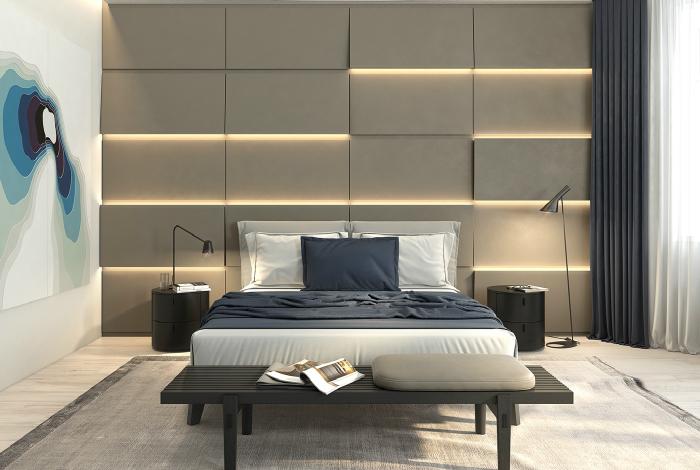 Элегантная спальня с фактурной стеной и удивительной подсветкой.