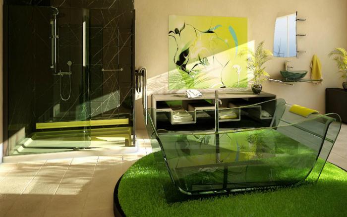 Лаконичная стеклянная ванна с четкими контурами.