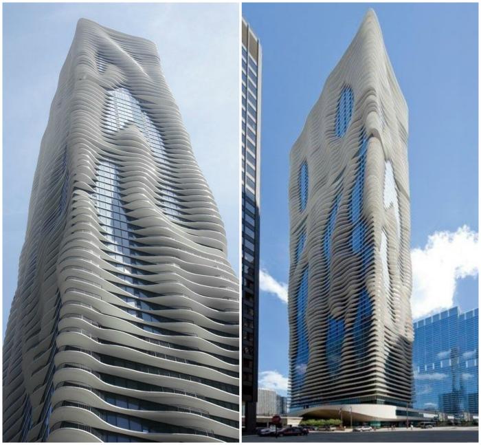 Небоскреб «Аква» в Чикаго, США.