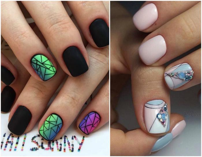Геометрические рисунки на ногтях.