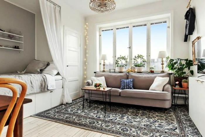 Уютное гнездышко с элементами скандинавского стиля.