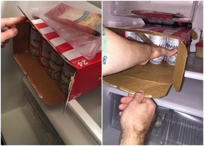 Как за один раз переместить все банки из ящика в холодильник.