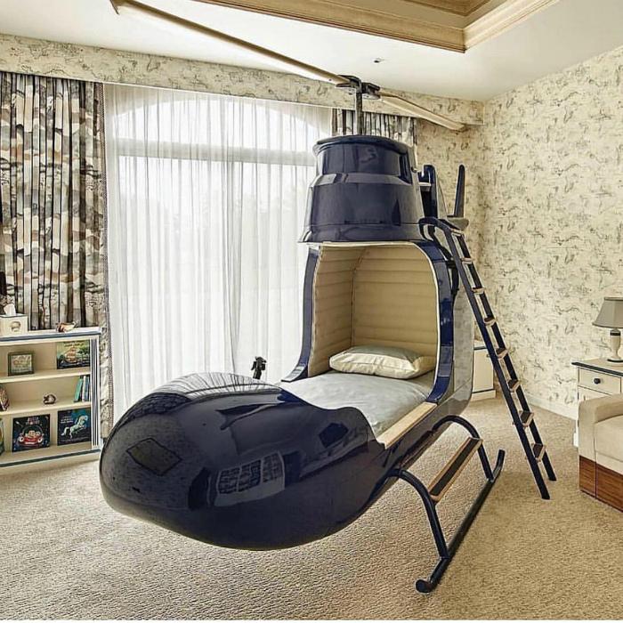 Кровать в виде вертолета. | Фото: kmgram.com.