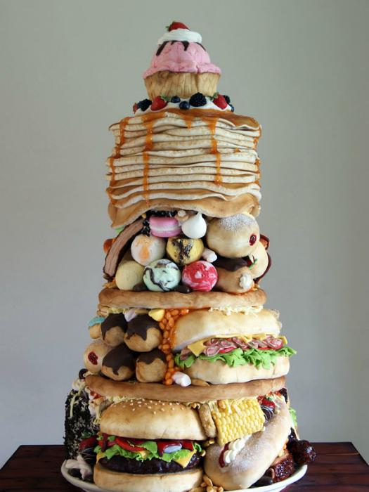Огромный сладкий торт для любителя хорошо покушать.