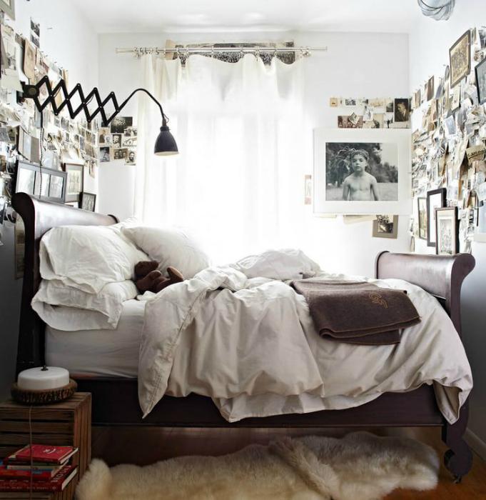 Спальня с элементами индустриального стиля.