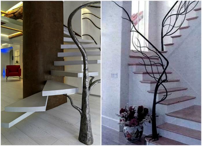 Лестницы с оригинальными перилами.