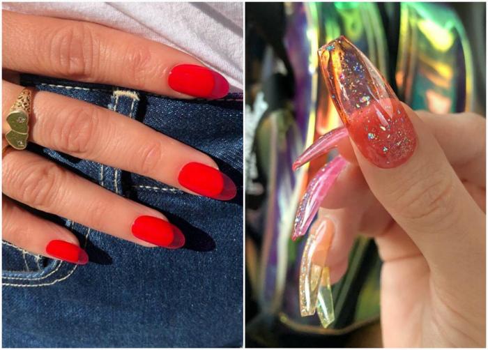 Полупрозрачные наращенные ногти. | Фото: Cosmopolitan, Joinfo.