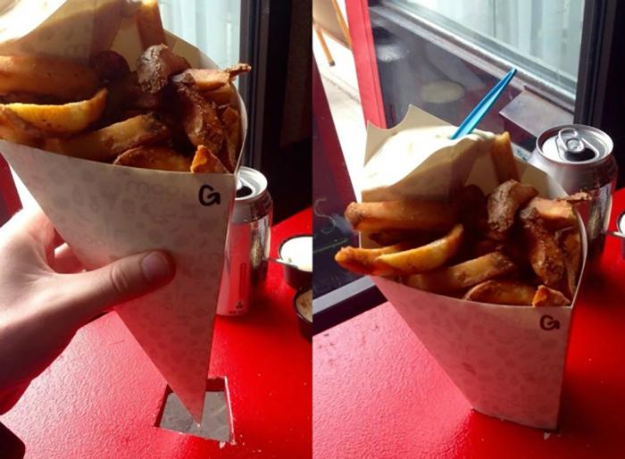 Емкость для картошки и стол с отверстием для него.