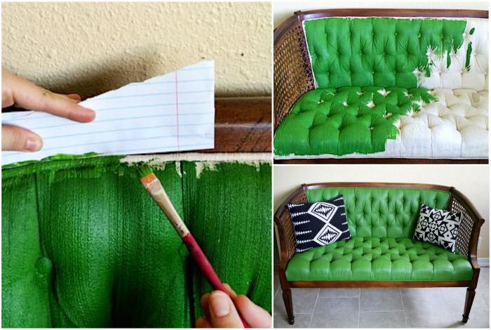 Покраска оббивки дивана.
