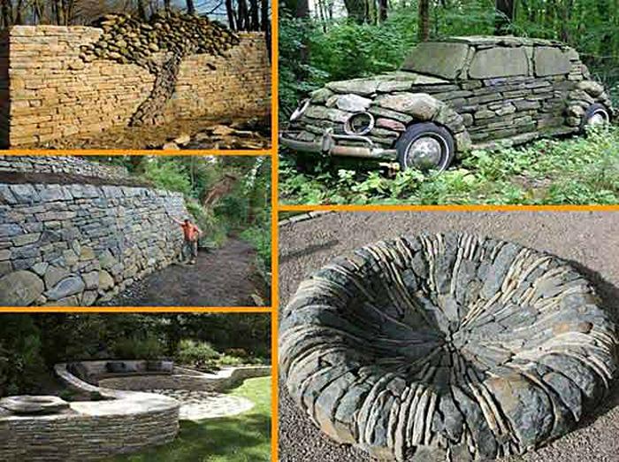 Потрясающие каменные фигуры в виде автомобиля и дерева.