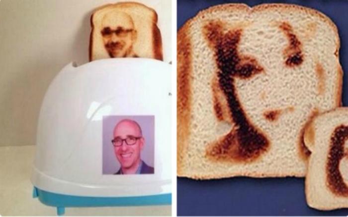 Фантастический тостер, выжигающий изображение своего владельца на хлебе.
